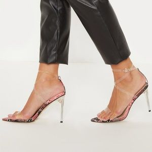 PLT Snaked point toe clear strap heels